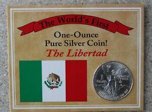 1983-Mexico-una-Onza-Puro-Plateado-Del-Libertad-Moneda-con-Carton-Informativo