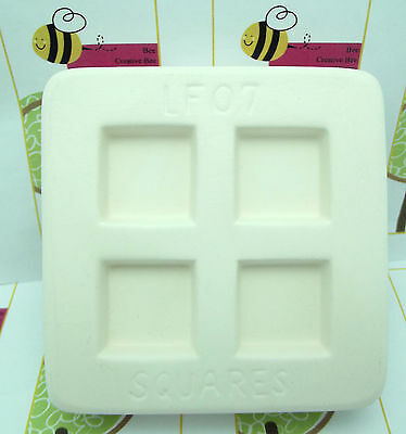 """SQUARE PENDANT Little Fritters Hot Glass Casting Mold Makes 4 1"""" Squares"""