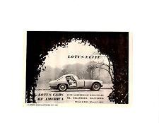 1960 LOTUS ELITE  ~  CLASSIC ORIGINAL SMALLER PRINT AD