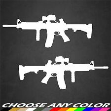 2 AR15 M16 .556 Gun Rifle Sticker Decal Military Molon Labe Car Window Graphics