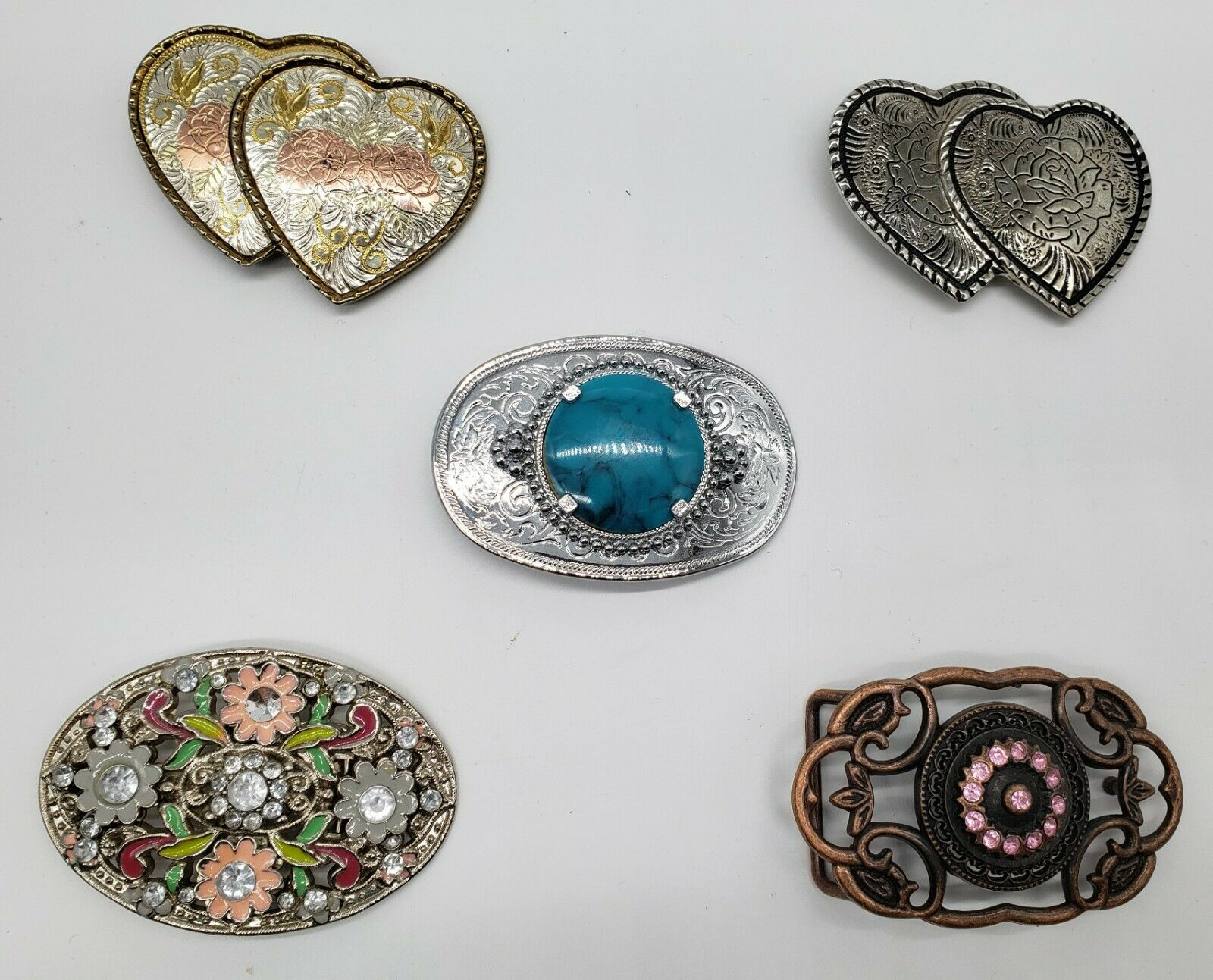 Five(5) Women's Vintage Belt Buckles Turquoise Flowers Hearts Two Made in USA