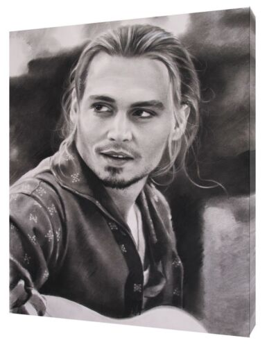 JOHNNY DEPP CHOCOLATE WITH CHARCOAL SOFT PASTEL PRINT ON CANVAS WALL ART DECOR
