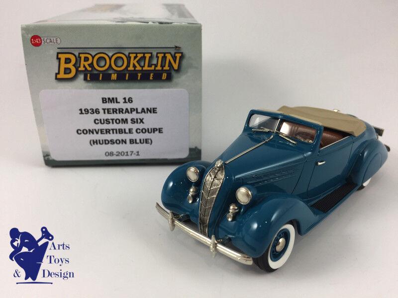 1 43 BROOKLIN BML 16 TERRAPLANE CUSTOM SIX CONVERTIBLE COUPE 1936 HUDSON bleu