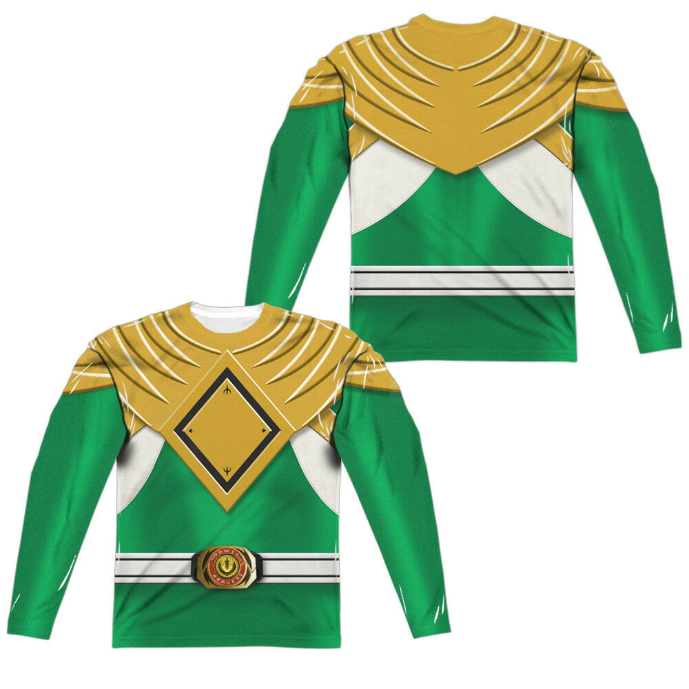 Power Rangers GREEN RANGER Costume 2-Sided Print Long Sleeve Poly T-Shirt