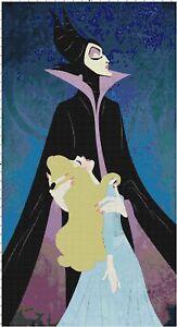 Details About Maleficent Sleeping Beauty Cartoon Fan Art Digital Cross Stitch Pattern Chart