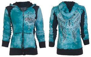 Sinful AFFLICTION Women Hoodie Sweatshirt ZIP UP Jacket BLITZKRIEG Biker UFC $74