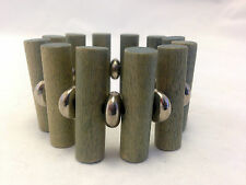 Rare Modernist Kaija Aarikka of Finland Wood and Metal Bracelet 1960's Vintage