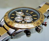 Rotary Men's Two-tone Gold Plated Watch Chronograph Watch Rrp £180 Boxed