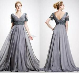 Mother Of The Bride Dresses Appliques Gray Chiffon Formal Ball Gowns