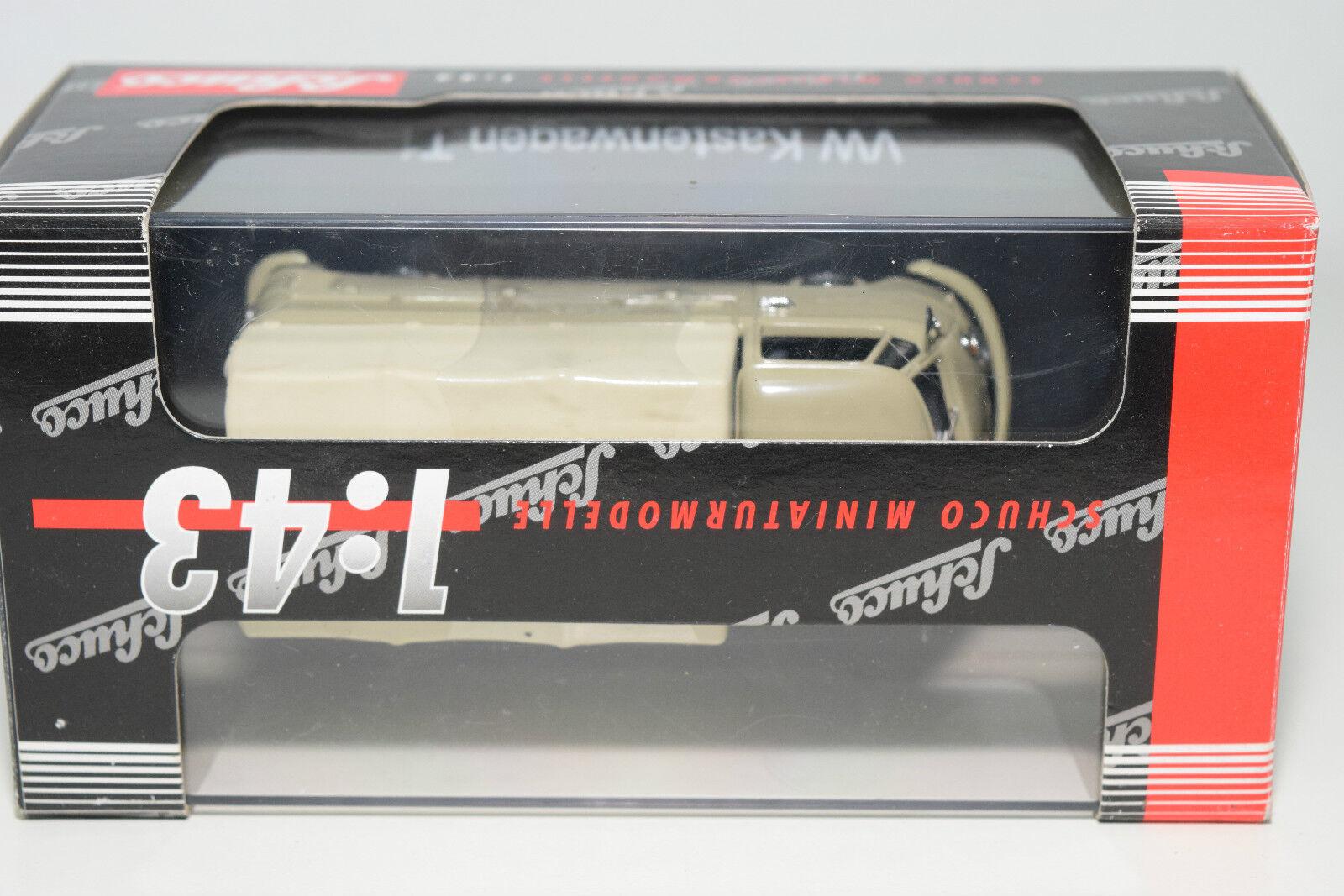 . . . SCHUCO 2591 VW VOLKSWAGEN TRANSPORTER T1 PLANENWAGEN TAN MINT BOXED 4269c1