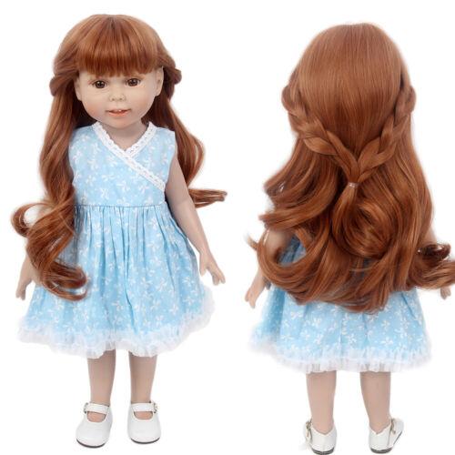 "Brown Doll Wig Fit 18"" American Girl Doll AG OG Gotz Journey Braids Curly Hair"