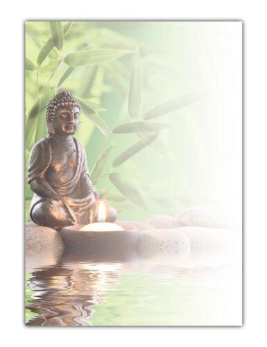 Wellness Spa Motiv-Briefpapier Buddha Bambus See MPA-5218, DIN A4, 25 Blatt