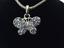 New! Purple Crystal Butterfly Necklace & Charm Jewelry Youth Girl Gift Pendant
