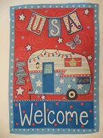 Usa welcome Patriotic Camper For Summer, always Home Garden Flag