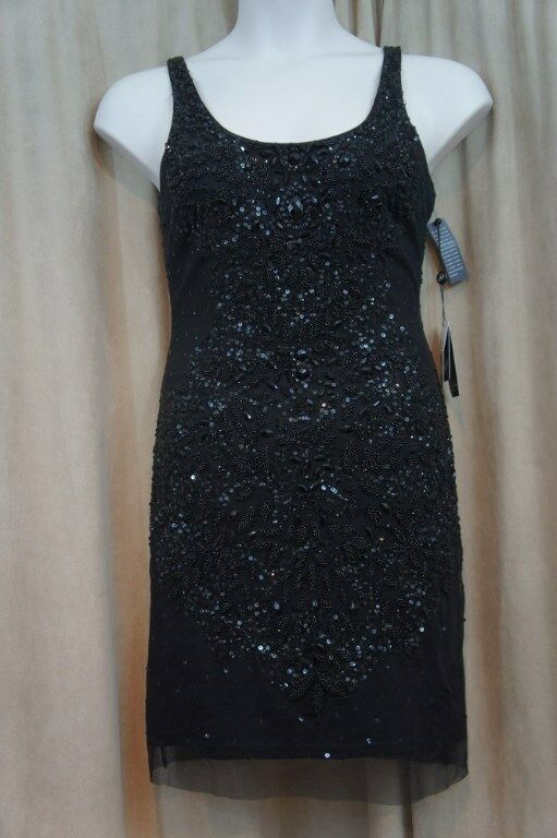Adrianna Papell Dress Sz 12 schwarz Beaded Sleeveless Cocktail Evening Sheath Dres