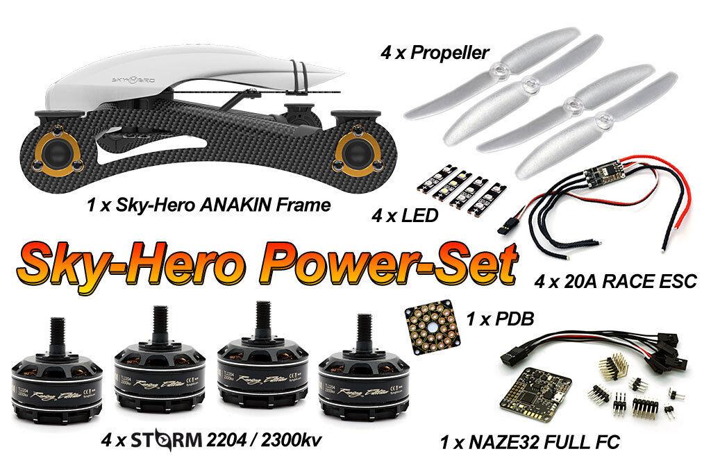 Sky-Hero Anakin FPV Racing Frame + Storm 2204 4S 20A Power Set +Naze32 + LED