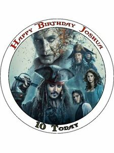 Awesome Pirates Of The Caribbean 5 7 5 Round Cake Topper Ebay Funny Birthday Cards Online Aeocydamsfinfo