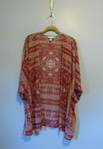 Christopher & Banks Rust and Cream Paisley Floral