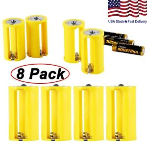 AA-to-Size-D-Battery-Adapters-Converter-Cases-Plastic-Parallel-Yellow-8-Pcs