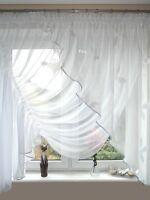 AG25 Fertiggardine aus Voile NEU Top Design SET Schöne Gardine Modern Blume Weiß