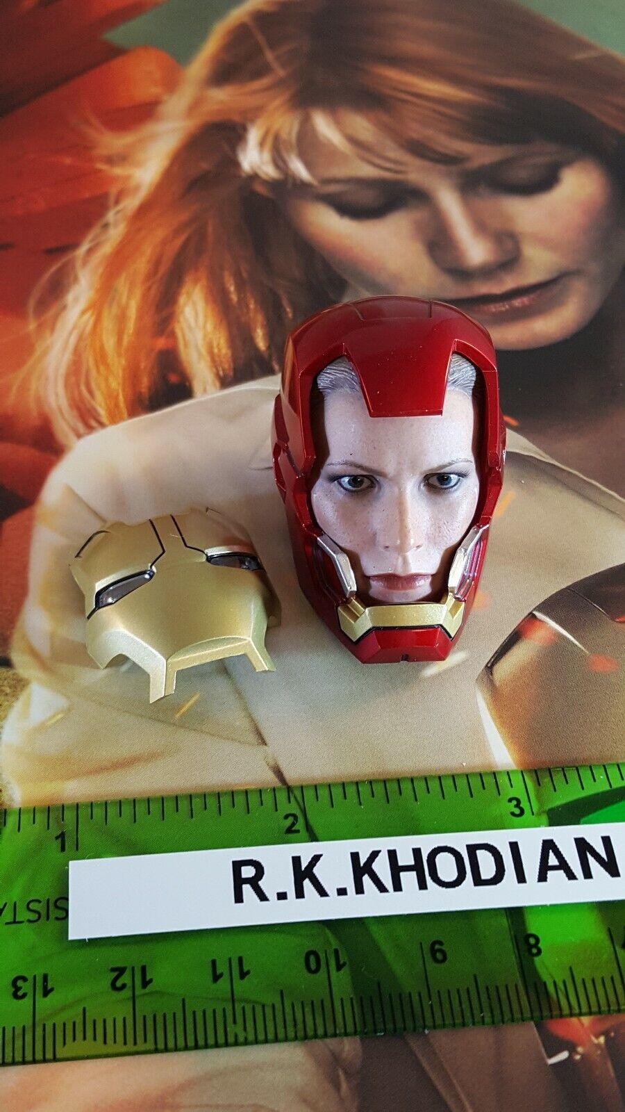 Hot Juguetes MMS 311 Pepper Potts figura 1 6 cabeza esculpida en sólo Casco Iron Man