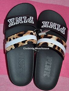 ee1c40044dc00e Victoria s Secret PINK Slides Double Strap Leopard Black Sandals ...