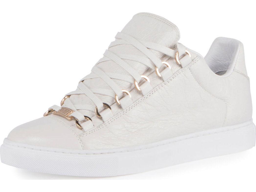 in cerca di agente di vendita Balenciaga Balenciaga Balenciaga Crinkled Leather Lace-Up scarpe da ginnastica bianca MSRP   595.00 Dimensione 42  supporto al dettaglio all'ingrosso