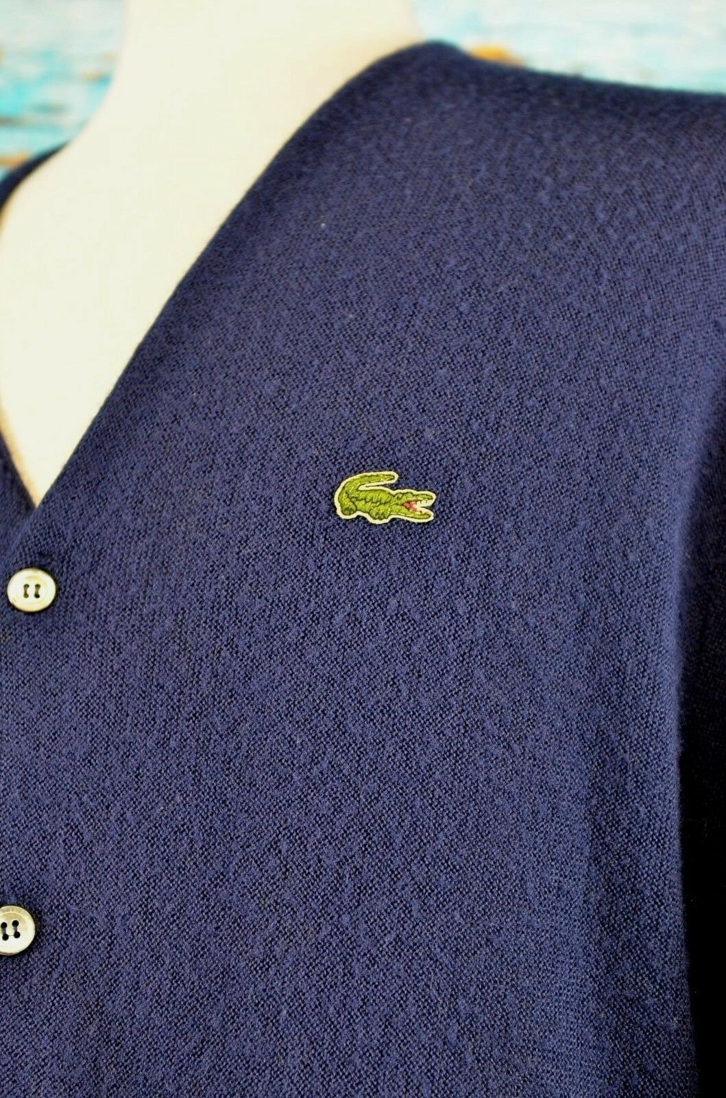 IZOD Lacoste Men's Cardigan Sweater Size XL Navy bluee USA Vintage Hipster Cool