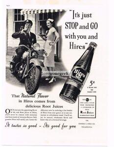 1937 HIRES ROOT BEER Motorcycle Cop Policeman Waitress Vintage Ad