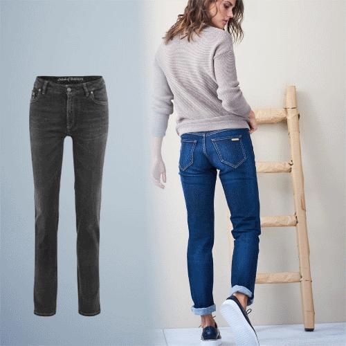 LIVING CRAFTS Damen Jeans damen Blau Schwarz Bio Baumwolle GOTS Fair 5-Pocket