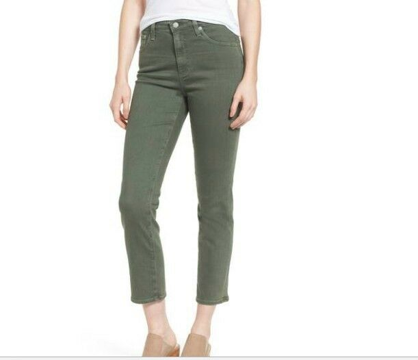 AG Isabelle high-rise straight leg crop Olive 27