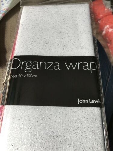 John Lewis Organza Wrap Sheet White With Silver Glitter New