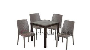 Tavolo sedie da esterno giardino poli rattan bar ristoranti