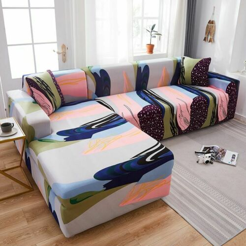Corner Sectional Sofa Cover Cotton Elastic L-Shaped Living Room Couch Slipcovers