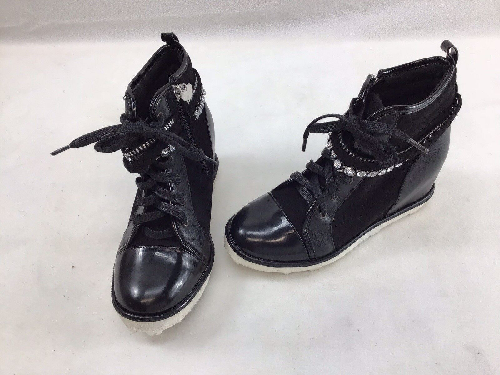 Stuart Weitzman Ariana chaîne noir noir noir compensé Pointure 4 F2142  6f89f6
