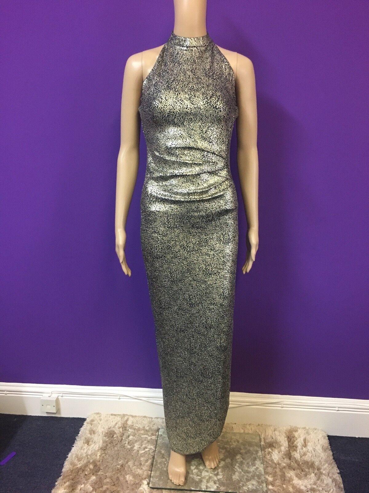 Lipsy High Neck Gold Sparkle Maxi Prom Dress Gown   - Größe 12 14 16