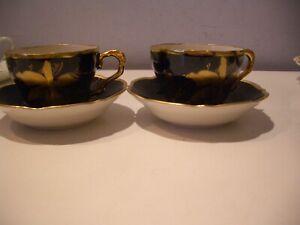 Vintage-Lindner-Kueps-Bavaria-Real-Cobalt-amp-Gold-X-2-Tea-Cups-and-Saucers-Set
