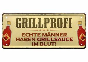 Blechschild lustige Sprüche Schild Männer Grillen Steaks Regel Carpaccio 28x12cm