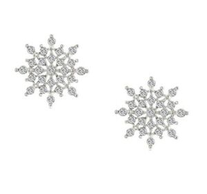 Image Is Loading Diamante Crystal Star Snowflake Earrings Silver Stud Uk
