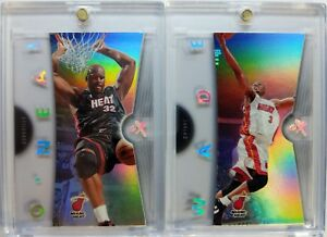 Rare-Lot-of-2-2006-07-06-07-FLEER-EX-Heat-Wade-Shaquille-O-039-Neal-ACETATE-Premium