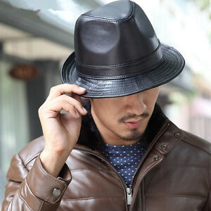 7823d9cc488 Men Women Black Leather Bucket Cap Brim Jazz Trilby Panama Hat ...