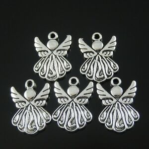 50pcs-Antique-Style-Silver-Tone-Alloy-Wing-Angel-Pendant-Charms-19mm