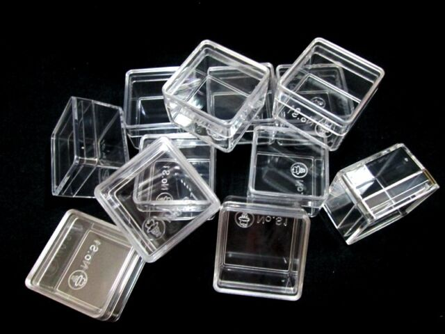 """Size 1"""" SMALL CLEAR PLASTIC BOXES Jewelry Beads Tiny Storage Container 12,24,72"""