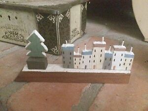 Small wooden driftwood snowy christmas houses village scene