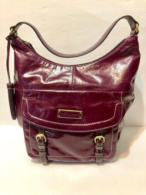 Distressed Leather Wine Purple Color
