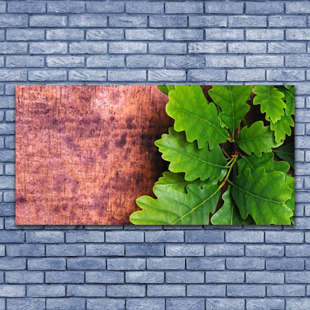Glas Drucken Wand Kunst 140x70 Image Bild Oak Leaves Floral