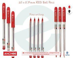 10 x 0.7mm Tip ANCHOR Jazz BLUE Biro Ballpoint Pens Fine Writing Perfect Grip