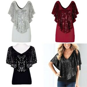 4e06b937aa4bff UK Women Lady Sequin Sparkle Glitter Short sleeve Tank Tops T-Shirt ...