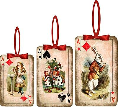 Christmas Alice in Wonderland 8 playing card ornaments assorted sizes