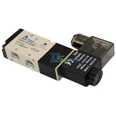 """3 way 2 position Solenoid Valve NPT Air 3/8"""" DC/AC Inner Pneumatic Electric NEW"""